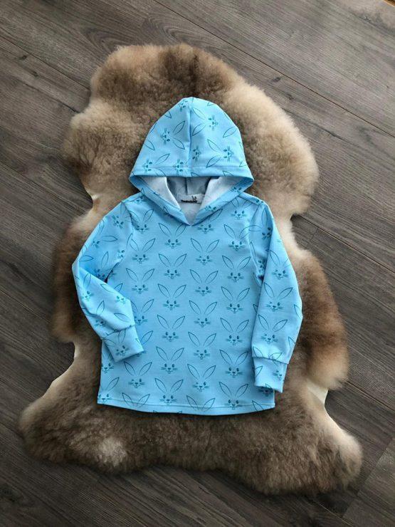 konijnen hoodie met capuchon blauw