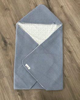 Omslagdoek jeansblauw met kruisjes
