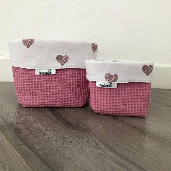 Commodemandjes roze hartjes