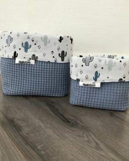 Commodemandjes jeans blauw met cactussen