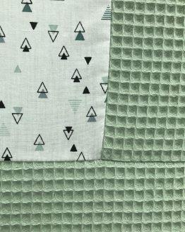 Boxkleed-mintgroen-driehoekjes