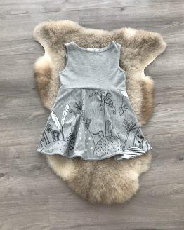 jurk-grijs-dieren-geplooid